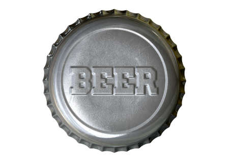 twist cap: A silver beer bottle cap with the word beer embossed on it on an isolated white studio background