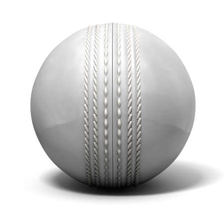 cricket: An white leather cricket ball isolated on a white background