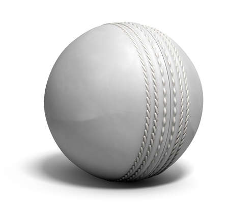 ball: An white leather cricket ball isolated on a white background