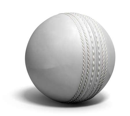 pelota: Una pelota de cricket de cuero blanco aislado en un fondo blanco