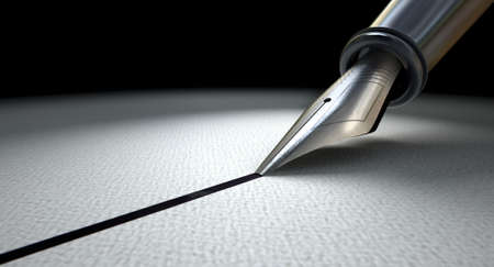 A side view closeup of the metal nib of an old fountain pen drawing a straight ink line on a textured paper surface