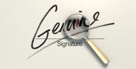 A deceptive concept showing a white paper with a signature that reads genuine but under a magnifying glass reads fake with a closer look