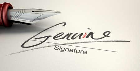 illusory: Un concepto enga�oso que muestra una pluma que acaba de escribir sobre un papel blanco una firma que dice genuina pero lee falso con una mirada m�s cercana