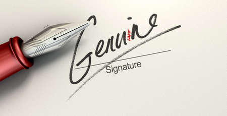 deceptive: A deceptive concept showing a pen having just written on a white paper a signature that reads genuine but reads fake with a closer look Stock Photo