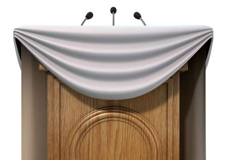 proclamation: A wooden speech podium with three small microphones attached and decorated with generic white draping on an isolated white studio background