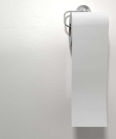 papel higienico: Un rollo de papel higi�nico blanco que cuelga en una ranura de papel higi�nico de cromo en un aislado fondo blanco con textura Foto de archivo