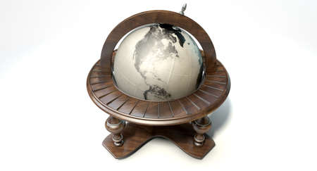 wood turning: A vintage wooden world globe ornament on an isolated white background