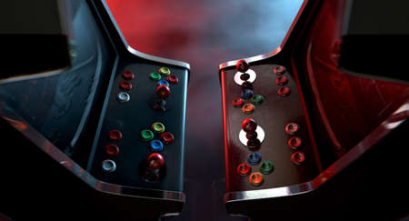 opposing: Two vintage unbranded arcade games with a joysticks and buttons and a blank screen opposing each other lit by contrasting colour schemes on a dark ominous background with copy space