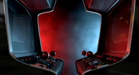 ARCADE GAMES: Two vintage unbranded arcade games with a joysticks and buttons and a blank screen opposing each other lit by contrasting colour schemes on a dark ominous background with copy space