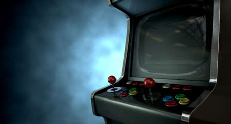 unbranded: A vintage unbranded arcade game with a joysticks and buttons and a blank screen on a dark ominous background with copy space