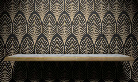 spotlit: An empty marble and gold trimmed shelf on a wall clad in art deco styled wallpaper pattern in gold and black
