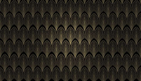 An art deco styled wallpaper pattern in gold and black Stock Photo