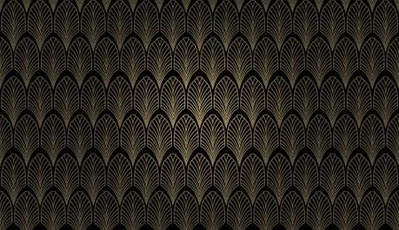 Ein Art-Deco-Stil Tapete Muster in Gold und Schwarz