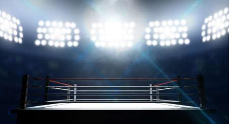deporte: Un ring de boxeo rodeado de cuerdas spotlit por focos en un escenario de ajuste en la noche