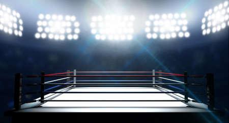 competencia: Un ring de boxeo rodeado de cuerdas spotlit por focos en un escenario de ajuste en la noche