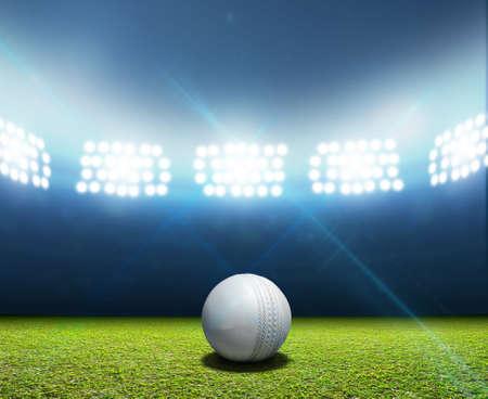 조명 투광 조명 아래 밤에 표시되지 않은 녹색 잔디 피치에 흰색 가죽 크리켓 공, 크리켓 경기장