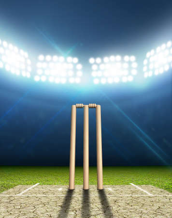 cricket sport: A cricket stadium with cricket pitch and set up wickets at night under illuminated floodlights