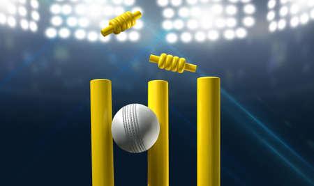 夜間照明付きスタジアムの背景に黄色の木製クリケット ウィケットを押す白い革クリケット ボール 写真素材