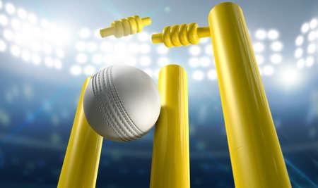 Een witte lederen cricket bal raken gele houten cricket wickets op een verlichte stadion achtergrond in de nacht