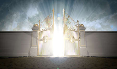 A depiction of the pearly gates of heaven opening with the bright side of heaven contrasting with the duller foreground