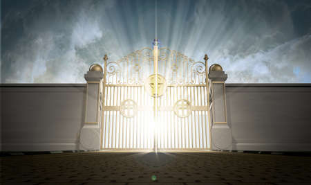 A depiction of the pearly gates of heaven closed with the bright side of heaven contrasting with the duller foreground