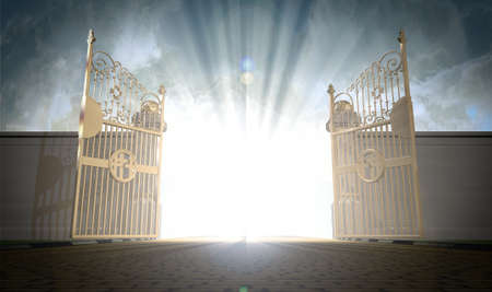 heavens gates: A depiction of the pearly gates of heaven open with the bright side of heaven contrasting with the duller foreground
