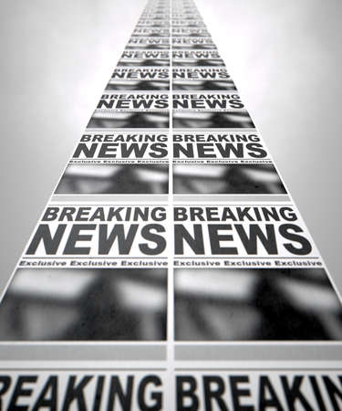 A long row of fthe front page of a newspaper press run with a generic headline that reads breaking news on an isolated white background photo