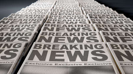 A long row of folded newspapers at the end of a press run with a generic headline that reads breaking news on the front page on an isolated white background