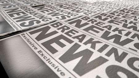 격리 된 흰색 배경에 첫 페이지에 뉴스 속보 읽기 일반 헤드 라인으로 보도 실행의 끝 부분에 접힌 신문의 긴 행