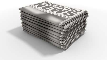 breaking off: A stack of folded stacked newspapers hot off the press with a generic headline that reads breaking news on the front page on an isolated white background