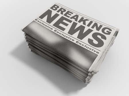 격리 된 흰색 배경에 앞 페이지에 뉴스 속보 읽기 일반 헤드 라인으로 언론 떨어져 뜨거운 스택 접힌 신문의 스택