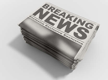 A stack of folded stacked newspapers hot off the press with a generic headline that reads breaking news on the front page on an isolated white background photo