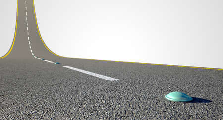 reflectors: A concept of an ashpalt road with reflectors and paint road markings curving upward to the sky on an isolated white background