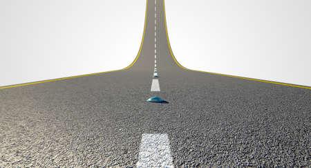 Un concetto di una strada ashpalt con riflettori e le marcature vernice Strada che curva verso l'alto verso il cielo su uno sfondo bianco isolato