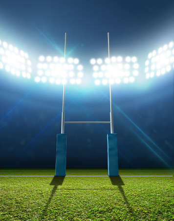 rugby: A rugby stadium with rugby posts on a marked green grass pitch at night under illuminated floodlights
