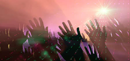 interspersed: A crowd level view of hands raised from the spectating crowd interspersed by colorful spotlights and a smokey atmosphere