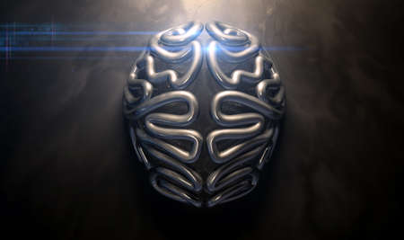 eerie: A bronze casting depicting a stylized brain in contrasting light on an eerie lit isolated dark