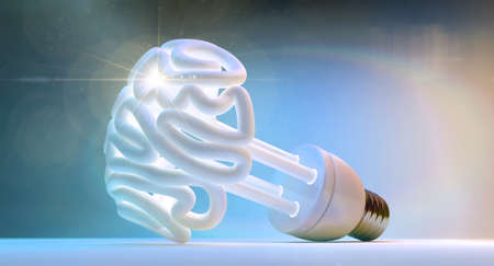 sense of space: An illuminated fluorescent light bulb in the shape of a stylized brain on an isolated colorful studio  Stock Photo