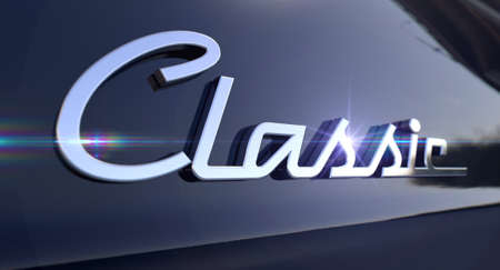 unpretentious: A closeup view of the word classic writting as a chrome emblem in a retro font set on a car painted in reflective black paint Stock Photo