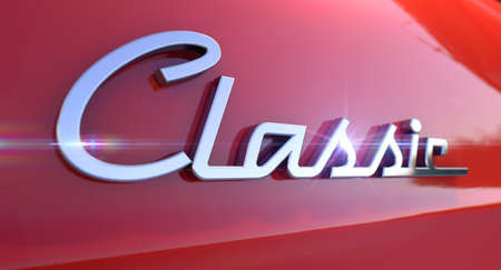 unpretentious: A closeup view of the word classic writting as a chrome emblem in a retro font set on a car painted in reflective red paint