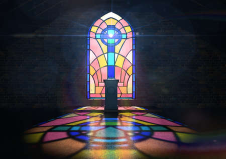 A dim old church interior lit by suns rays penetrating through a colorful stained glass window in the pattern of a crucifix reflecting colours on the floor and a speech pulpit Editöryel