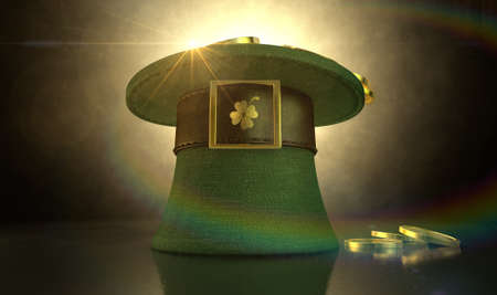 A green material leprechaun hat with a brown leather band emblazoned with a gold shamrock and buckle filled with gold coins on a dark spotlit  Stock Photo