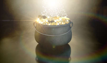 A cast iron pot filled with gold coins and magical sparkles on a dark eerie spotlit