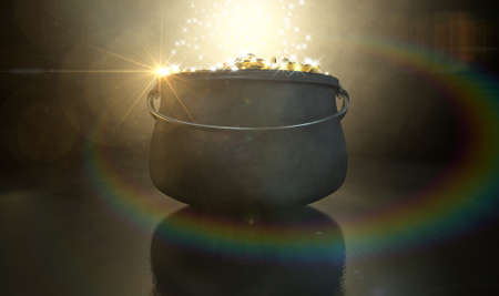 paddys: A cast iron pot filled with gold coins and magical sparkles on a dark eerie spotlit