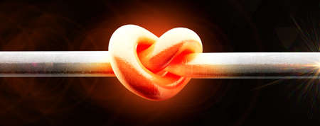 burnished: A metal pole twisted into a knotted shape that resembles a heart that glowing red hot on an isolated