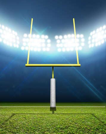 스포트 라이트의 배열에 의해 조명 밤 시간에 표시 된 녹색 잔디 피치에 게시물 축구 경기장