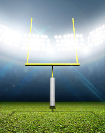 goal post: A football stadium with posts on a marked green grass pitch in the night time illuminated by an array of spotlights