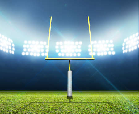 campo di calcio: Uno stadio di calcio con messaggi su un campo in erba verde segnato nella notte illuminata da una serie di faretti