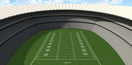 campo di calcio: Uno stadio di calcio con messaggi su un campo in erba verde marcata di giorno su uno sfondo blu cielo Archivio Fotografico