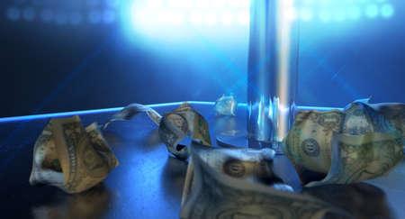 Eine isolierte Stripstange auf einer Bühne von einem einzigen Scheinwerfer beleuchtet von bis zerknittertes Dollarnote Spitzen umgeben auf einem Strip-Club